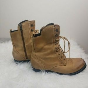 Jeffrey Campbell Boots Lace Up Zipper Distressed S